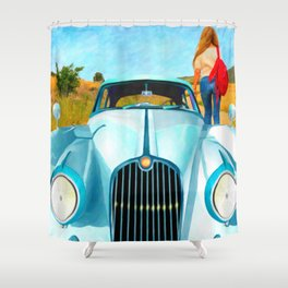 Old Blue by Liane Wright Shower Curtain