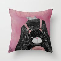 loll3 Throw Pillows featuring T e d d y  by lOll3