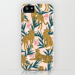 Cheetah jungle print on blush pink  iPhone Case