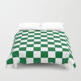 Checkered (Dark Green & White Pattern) Duvet Cover