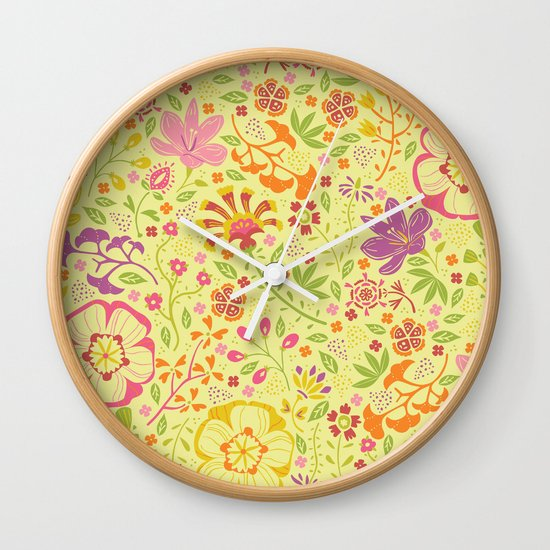 Oriental Blooms Wall Clock
