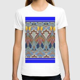 Ornate blue & Yellow Art Nouveau Butterfly Red Designs T-shirt
