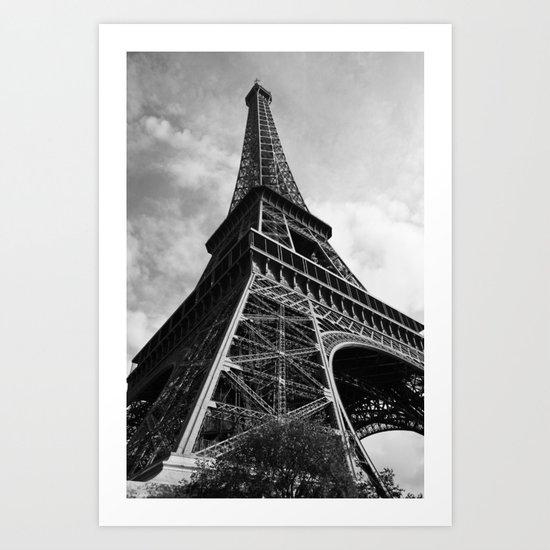 Eiffel in greyscale Art Print