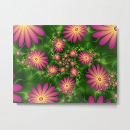 Pink Fantasy Flowers Fractal Metal Print