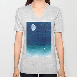 Moon Phase, teal watercolor Unisex V-Neck