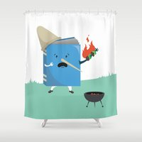cooking Shower Curtains featuring cute book character cooking in the park by daiko posters
