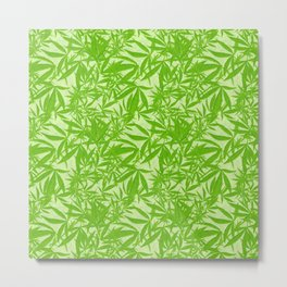 Vintage Cannabis Blossom Toss in Lime Green Metal Print