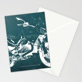 2010 Moto Guzzi Stelvio 1200 4V blue blueprint Stationery Cards