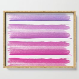 Simply hand painted pink and magenta stripes on white background  2 - Mix and Match Serving Tray