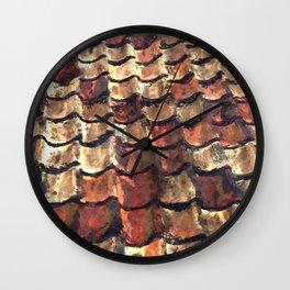 Terra Cotta Roof Tiles Wall Clock