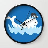 surf Wall Clocks featuring Surf by Hagu