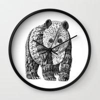 panda Wall Clocks featuring Panda by BIOWORKZ