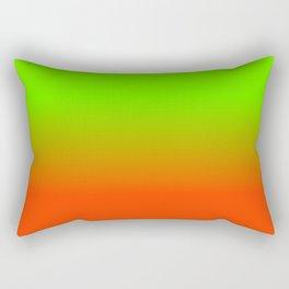 Neon Green and Neon Orange Ombré  Shade Color Fade Rectangular Pillow
