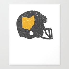 State Shape of Ohio Vintage Football Helmet Canvas Print