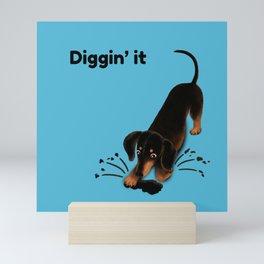 Diggin' it (Black and Blue) Mini Art Print