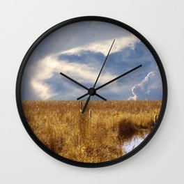 landscape 002: golden slumbers, big sky Wall Clock