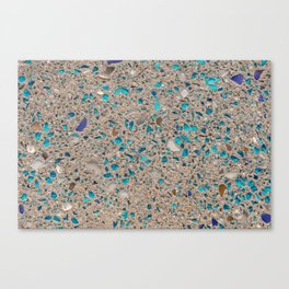 Colorful recycled glass for construction of concrete sidewalk Canvas Print