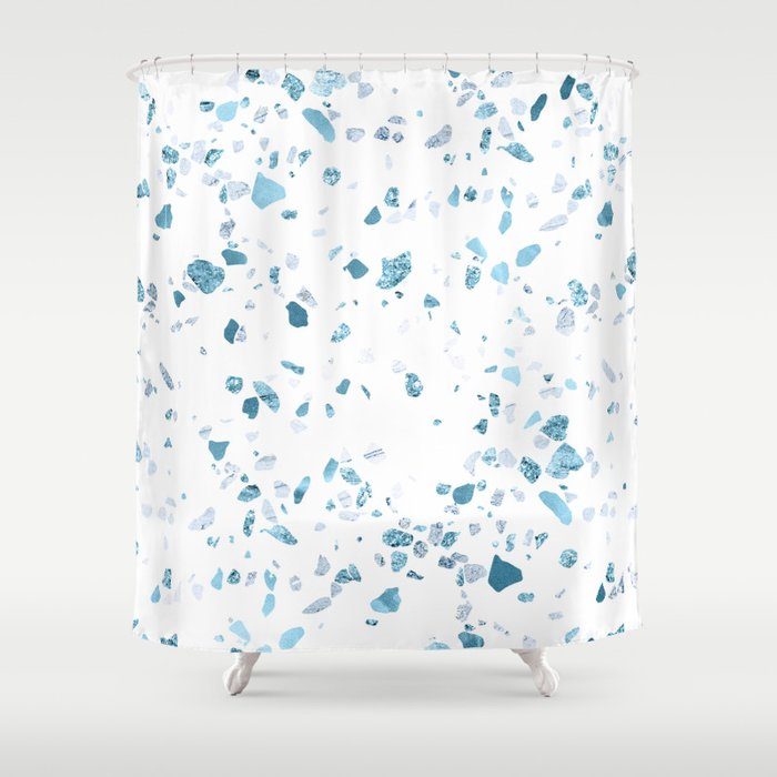 Turquoise Terrazzo White Marble Shower Curtain