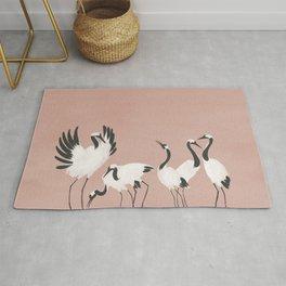 Crane Dance - Mauve Pink Rug