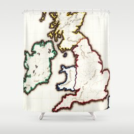 Vintage Map of The British Isles (1860) Shower Curtain