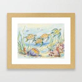 Sea Turtles, Coral and Kelp Framed Art Print