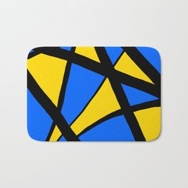 Yellow and Blue Triangles Abstract Bath Mat