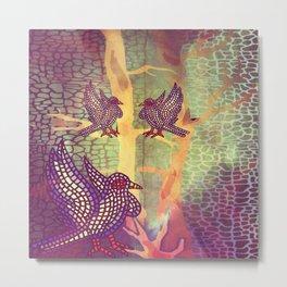Mosaic Bird Forest Metal Print