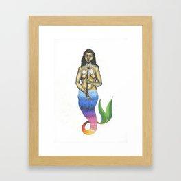 bearded mermaid Framed Art Print