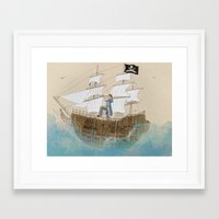 pirate Framed Art Prints featuring Pirate by Polina Kovaleva