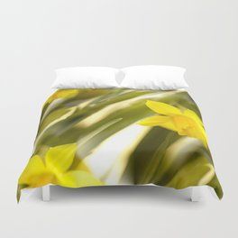 Spring atmosphere with yellow narcissus Duvet Cover