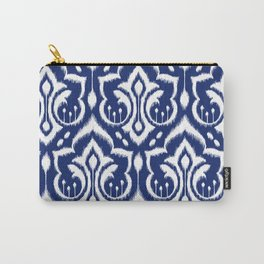 Ikat Damask Navy 2 Carry-All Pouch