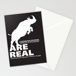 Unicorns Are Real 2, white text Stationery Cards