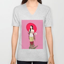 Country Girl with Umbrella Holding Flowers  Unisex V-Neck