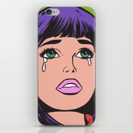 Purple Bangs Crying Comic Girl iPhone Skin
