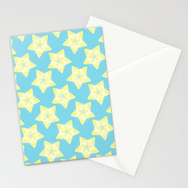 Star Flower Pattern Teal and Yellow Stationery Cards