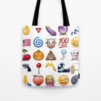 emoji Tote Bags featuring Emoji  by rivercbishop