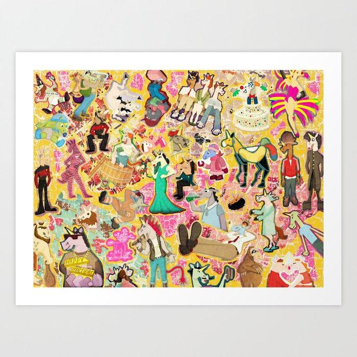 Decoupage Unicorns Art Print by thatssounicorny
