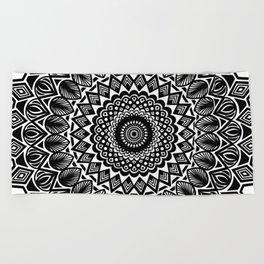 Detailed Black and White Mandala Beach Towel