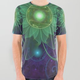 Glowing Blue-Green Fractal Lotus Lily Pad Pond All Over Graphic Tee