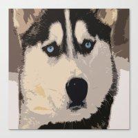 duvet cover Canvas Prints featuring DOG DUVET COVER by aztosaha
