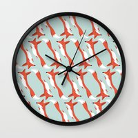 mr fox Wall Clocks featuring Mr. Fox by justdan