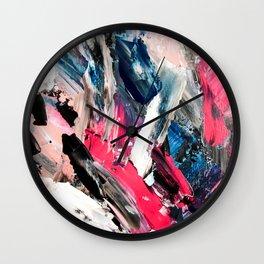 Modern navy blue pink black acrylic brushstrokes paint Wall Clock