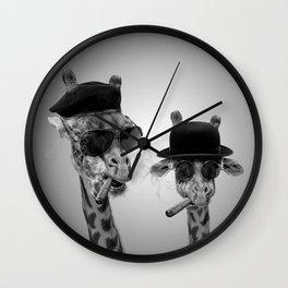 Giraffe gangsters Wall Clock