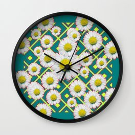 Teal Color Shasta Daisies Lime Pattern Art Abstract Wall Clock