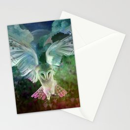 """Owl flight and spring night"" Stationery Cards"
