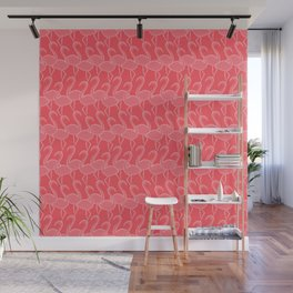 Flamingo Flamingle - pink on coral Wall Mural