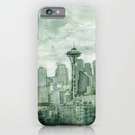 Seattle Skyline Watercolor Space Needle Emerald City 12th Man Art iPhone Case