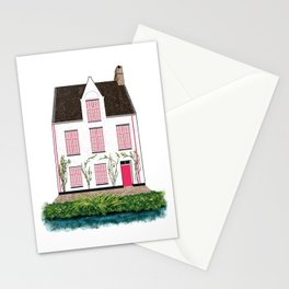 Pink and White House in Bruges Stationery Cards