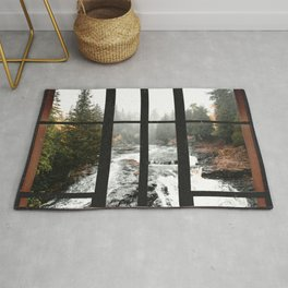 Window to the Waterfall and Forest | Foggy Forest Landscape in Autumn Rug