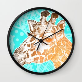 Zentangle Giraffe (Face) Wall Clock
